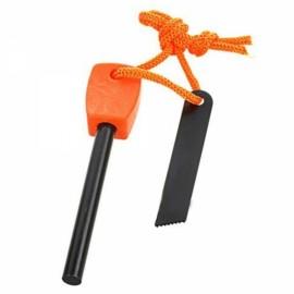 FURA Outdoor Survival Waterproof Magnesium Alloy Flintstone Fire Starter with Scraper Orange Size L