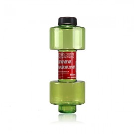 Personalized 550mL Dumbbell Shape Fitness Equipment Seal Leak Proof Plastic Cup Sport Water Bottle Green