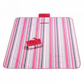 Outdoor Waterproof Camping Picnic Beach Mat Moistureproof Folding Mat Blanket 200x145cm Red Stripe