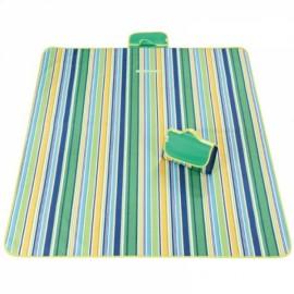 Outdoor Waterproof Camping Picnic Beach Mat Moistureproof Folding Mat Blanket 200x145cm Green Stripe