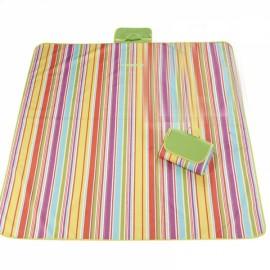 Outdoor Waterproof Camping Picnic Beach Mat Moistureproof Folding Mat Blanket 200x145cm Rainbow Stripe