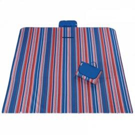 Outdoor Waterproof Camping Picnic Beach Mat Moistureproof Folding Mat Blanket 200x145cm Red & Blue Stripe