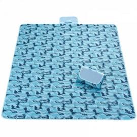 Outdoor Waterproof Camping Picnic Beach Mat Moistureproof Folding Mat Blanket 200x145cm Camouflage Blue
