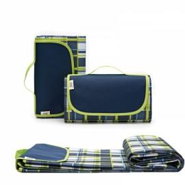 Outdoor Waterproof Camping Picnic Beach Mat Moistureproof Folding Mat Blanket 200x145cm Blue & Green Grid