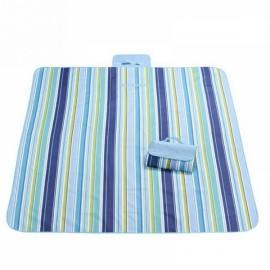 Outdoor Waterproof Camping Picnic Beach Mat Moistureproof Folding Mat Blanket 200x145cm Blue Stripe