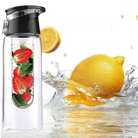 Outdoor Sports Fruit Juice Infuser Lemon Juice Water Bottle with Flip Lid 800ml Black