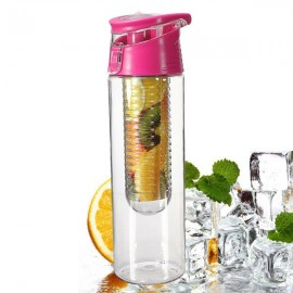 Outdoor Sports Fruit Juice Infuser Lemon Juice Water Bottle with Flip Lid 800ml Rose Red