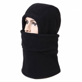 Unisex Full Face Mask Fleece Cap Neck Warmer Hood Winter Sports Multifunctional Ski Hat Black