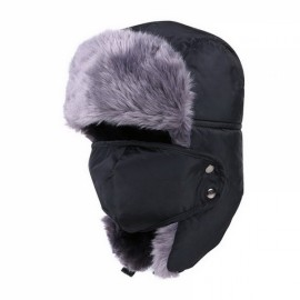 Unisex Russian Faux Fur Pilot Trapper Bomber Cap Outdoor Ski Ear Protective Hat With Mouth Mask Black