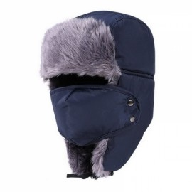Unisex Russian Faux Fur Pilot Trapper Bomber Cap Outdoor Ski Ear Protective Hat With Mouth Mask Navy Blue