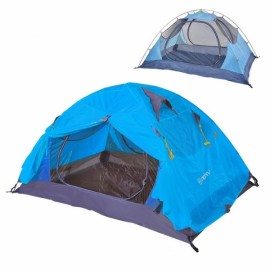 Outdoor Camping 2 Person Tent Double Layers PU 4000 Waterproof Rainproof Canopy Blue