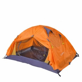 Outdoor Camping 2 Person Tent Double Layers PU 4000 Waterproof Rainproof Canopy Orange