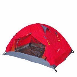 Outdoor Camping 2 Person Tent Double Layers PU 4000 Waterproof Rainproof Canopy Red