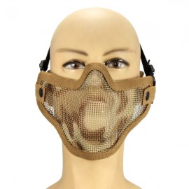 Tactical Security Protect Hunting Metal Wire Half Face Mesh Airsoft Mask Desert Camouflage