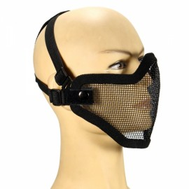 Tactical Security Protect Hunting Metal Wire Half Face Mesh Airsoft Mask Black