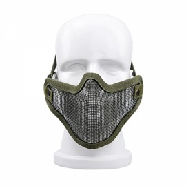 Tactical Security Protect Hunting Metal Wire Half Face Mesh Airsoft Mask Green