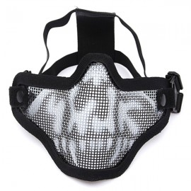 Tactical Security Protect Hunting Metal Wire Half Face Mesh Airsoft Mask Black & White Camouflage