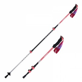 Naturehike 3 Section Trekking Pole Adjustable Folding Walking Stick Camping Aluminium Alpenstock Pink