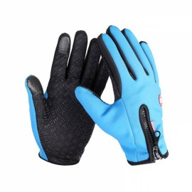 Unisex Winter Outdoor Sports Windproof Waterproof Ski Gloves Warm Riding Gloves Motorcycle Gloves Blue XL