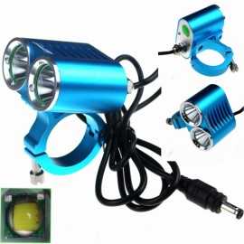 ZSJ-P22B 1800lm 4-Mode White Light 2-LED Bicycle Lamp Blue (4 x 18650)