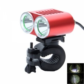 ZSJ-360K2E 1800lm 4-Mode White Light 2-LED Bicycle Lamp Red & Black (4 x 18650)