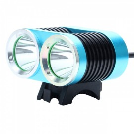 ZSJ-B22 1800lm 4-Mode White Light 2-LED Bicycle Lamp Blue & Black (4 x 18650)
