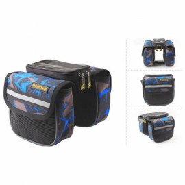 CoolChange Mountain Bike Bicycle Front Frame Tube Bag Double Pouch for Less Than 5.0 Inch Mobile Phone Blue