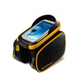 CoolChange Bicycle Frame Front Head Top Tube Waterproof Bike Bag Cellphone Pouch for 6 Inch Mobile Phone Black & Yellow