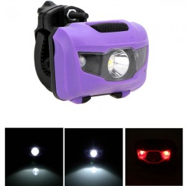 360-Degree Rotation 2+1 Modes Hard Light LED Bicycle MTB Bike ABS Taillight Warning Light Purple