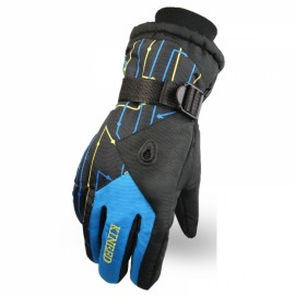 LOCLE Winter Warm Outdoor Sports Comfortable Windproof Ski Gloves for Men Black & Blue
