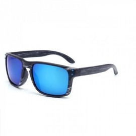 Wood Grain Design Reflective Sports Cycling Sunglasses Outdoor Square Eyewear C8 Gray Wooden Frame Blue Lens