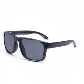 Wood Grain Design Reflective Sports Cycling Sunglasses Outdoor Square Eyewear C12 Gray Wooden Frame Gray Lens