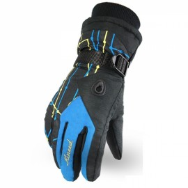 LOCLE Winter Warm Outdoor Sports Comfortable Windproof Ski Gloves for Women Black & Blue