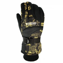LOCLE Winter Warm Outdoor Sports Comfortable Windproof Ski Gloves for Men Black & Yellow BW