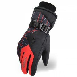 LOCLE Winter Warm Outdoor Sports Comfortable Windproof Ski Gloves for Men Black & Red
