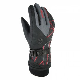 LOCLE Winter Warm Outdoor Sports Comfortable Windproof Ski Gloves for Men Black & Dark Gray