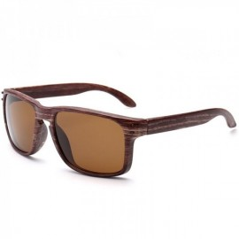 Wood Grain Design Reflective Sports Cycling Sunglasses Outdoor Square Eyewear C11 Tea Wooden Frame Tea Lens