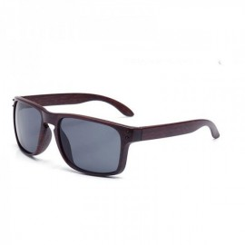 Wood Grain Design Reflective Sports Cycling Sunglasses Outdoor Square Eyewear C14 Coffee Wooden Frame Gray Lens