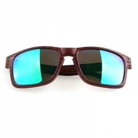 Wood Grain Design Reflective Sports Cycling Sunglasses Outdoor Square Eyewear C6 Tea Wooden Frame Green Lens