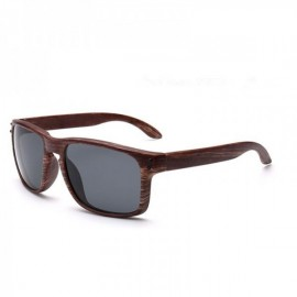 Wood Grain Design Reflective Sports Cycling Sunglasses Outdoor Square Eyewear C10 Tea Wooden Frame Gray Lens