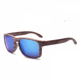 Wood Grain Design Reflective Sports Cycling Sunglasses Outdoor Square Eyewear C5 Tea Wooden Frame Blue Lens