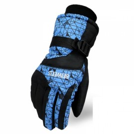 LOCLE Winter Warm Outdoor Sports Comfortable Windproof Ski Gloves for Women Blue Cube BW