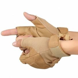 Training Tactical Half Finger Gloves Outdoor Fighting Combat Slip Resistant Gloves Sand Color XL