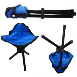 AOTU Camping Hiking Fishing Picnic BBQ Folding Foldable Stool Tripod Chair Blue