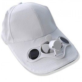 Solar Power Hat Peak Cap Sunhat with Air Fan for Summer Outdoor Sports Cycling Supplies White