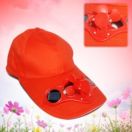 Solar Power Hat Peak Cap Sunhat with Air Fan for Summer Outdoor Sports Cycling Supplies Red