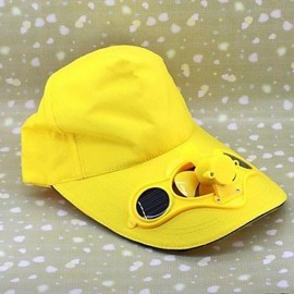 Solar Power Hat Peak Cap Sunhat with Air Fan for Summer Outdoor Sports Cycling Supplies Yellow