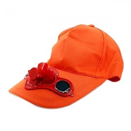 Solar Power Hat Peak Cap Sunhat with Air Fan for Summer Outdoor Sports Cycling Supplies Orange