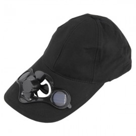 Solar Power Hat Peak Cap Sunhat with Air Fan for Summer Outdoor Sports Cycling Supplies Black