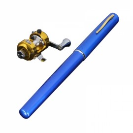 Mini Pocket Pen Shaped Aluminum Alloy Fishing Rod Pole with Fishing Reel 1m Blue